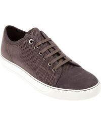 Lanvin Mesh Detail Calf Leather Trainers - Lyst