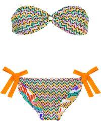 Missoni Reversible Crochet Knit and Printed Bandeau Bikini - Lyst