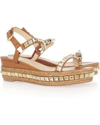 lowest price ddc0a 9bb57 Cataclou 60 Studded Leather and Raffia Wedge Sandals - Brown