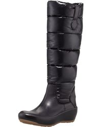 Moncler - Nibble Quilted Wedge Boot Black - Lyst