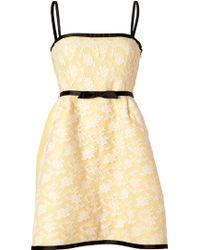 Valentino Light Yellow/White Belted Lace Dress - Lyst
