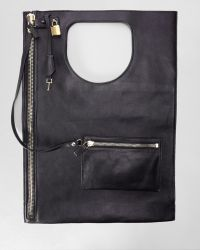 Tom Ford Lock Flat Foldover Bag Black black - Lyst