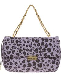 Boutique Moschino Leather Animal Print Bag - Purple