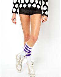 American Apparel - Stripe Calf Socks - Lyst