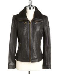 MICHAEL Michael Kors Sherpa Collar Leather Jacket - Lyst