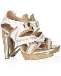 Rag & Bone Katja Metaltrimmed Leather and Cork Sandals - Natural