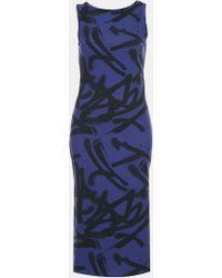 Topshop Graffiti Print Midi Tank Dress blue - Lyst