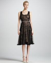 Zac Posen Scoop Neck Lace Cocktail Dress black - Lyst