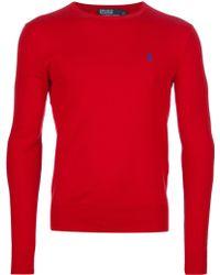 Polo Ralph Lauren Crew Neck Sweater In Red For Men Lyst
