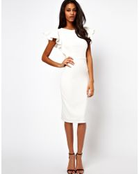 Asos Pencil Dress with Ruffle Sleeves - Lyst