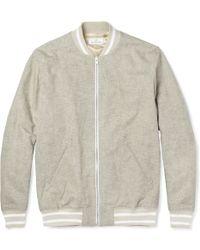 Hentsch Man Cotton and Linen-blend Bomber Jacket - Gray