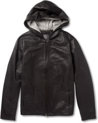 Lot78 - Hooded Leather Jacket - Lyst