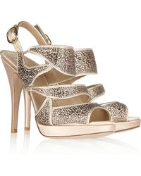 Valentino Embellished Satin Sandals - Lyst