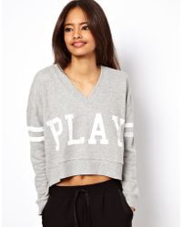 ASOS Collection Asos Sweatshirt with V Neck and Play Print gray - Lyst