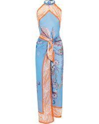 Etro Printed Silk-chiffon Beach Dress - Lyst