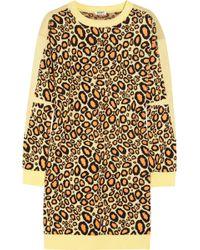 Kenzo Leopard Intarsia Cotton-blend Sweater Dress animal - Lyst