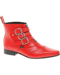 Underground Blitz Winklepicker Red Ankle Boots - Lyst