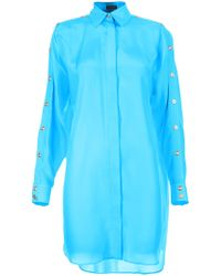 Versace Button Sleeve Oversize Shirt blue - Lyst