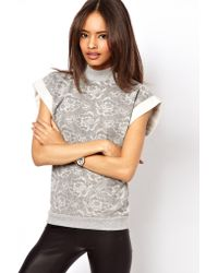 ASOS Collection Asos Sweatshirt with Lace Effect Print gray - Lyst