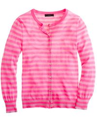 J.Crew Collection Featherweight Cashmere Cardigan in Tonal Stripe pink - Lyst