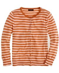 J.Crew Collection Featherweight Cashmere Cardigan in Tonal Stripe brown - Lyst