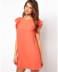 ASOS Collection Asos Shift Dress with Frill Sleeves - Lyst