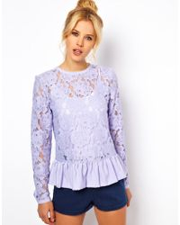 ASOS Collection Asos Heavy Lace Top with Peplum - Lyst