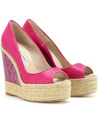 Brian Atwood Cailey Espadrille Wedges - Pink