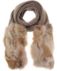 Miu Miu Fur Trimmed Scarf - Brown