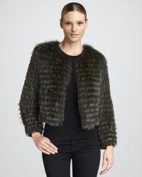 Tasha Tarno - Pan Leatherstripe Fox Fur Jacket - Lyst