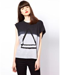 ELEVEN PARIS Assymetric Tee with Triangle Print - Black