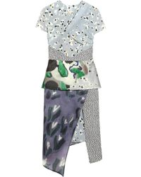 Michael van der Ham Layered Printed Silkblend Dress multicolor - Lyst