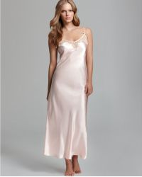 Oscar de la Renta Lace Trellis Long Charmeuse Nightgown - Orange
