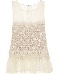 RED Valentino Silk Organza and Macramé Top floral - Lyst