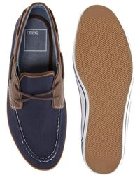 ASOS Asos Boat Shoes in Herringbone Canvas - Blue