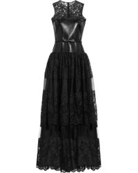 Valentino Leather, Lace And Tulle Gown - Lyst
