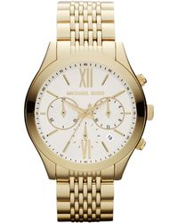 Michael Kors Womens Chronograph Gold-tone Stainless Steel Bracelet Watch 42mm - Lyst