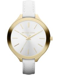 MICHAEL Michael Kors Midsize White Leather Runway Watch - Lyst