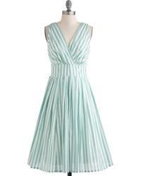 ModCloth Glamour Power To You Dress in Spearmint Stripe - Lyst