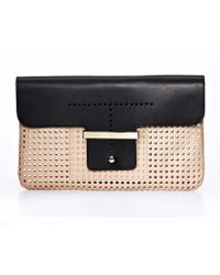 Ann Taylor Colorblocked Perforated Leather Clutch - Black