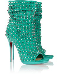 Christian Louboutin Guerilla 120 Studded Suede Ankle Boots - Lyst