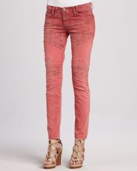 Current/Elliott The Moto Coral Lowrise Skinny Jeans - Lyst