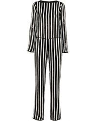Marc Jacobs Striped Sequined Chiffon Jumpsuit - Black