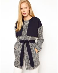 ASOS Collection Asos Textured Coat with Self Belt - Lyst
