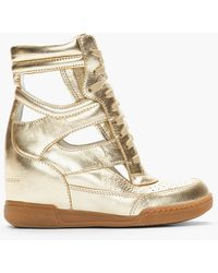 Marc By Marc Jacobs Metallic Gold Leather Cutout Sneaker Wedges - Lyst