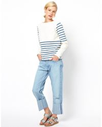 MiH Jeans Mih Phoebe Deep Turn Up Boyfriend Jeans with Distressing - Lyst