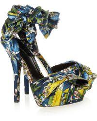 Dolce & Gabbana Printed Brocade Clog - Blue