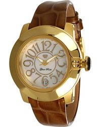 Glam Rock Lady Sobe 40mm Gold Plated Watch with Patent Strap - Metallic