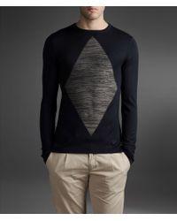 Emporio Armani Viscose Sweater Lozenge Intarsia - Lyst