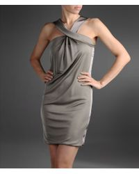 Emporio Armani Short Satin Dress with Crossover V Neck - Lyst